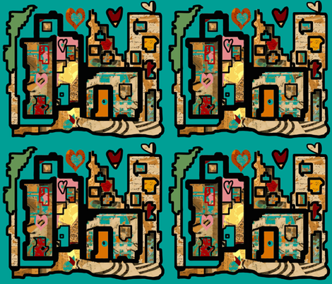 Heartbeat City  COOL (small scale repeat) fabric by anniedeb on Spoonflower - custom fabric