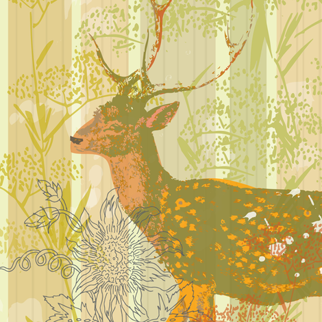 Deer Panel fabric by redfish on Spoonflower - custom fabric