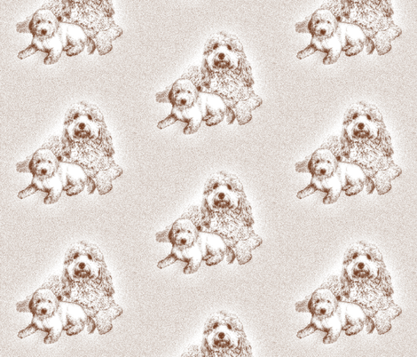 Goldendoodle Mother and pup fabric