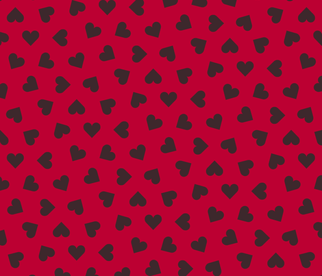 dark chocolate hearts on lipstick red fabric by victorialasher on Spoonflower - custom fabric