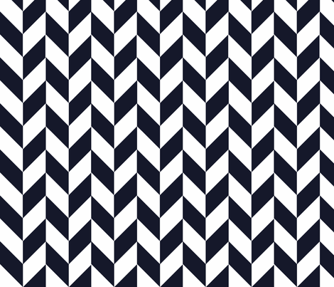 Small Navy-White Herringbone
