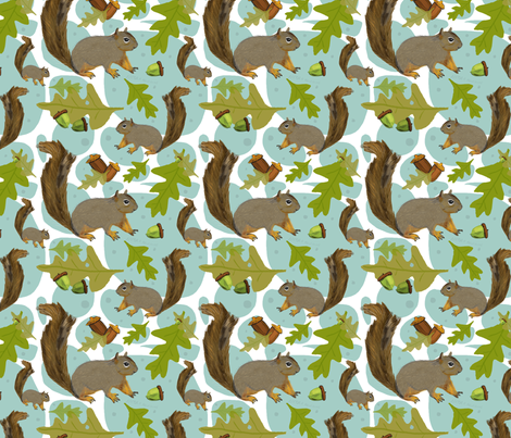 Woodland squirrels fabric by nicolaclare on Spoonflower - custom fabric