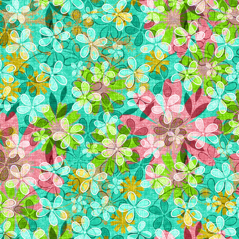 Floral Meadow Mix in turquoise fabric by joanmclemore on Spoonflower - custom fabric