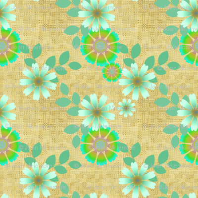 Textured floral in green and beige