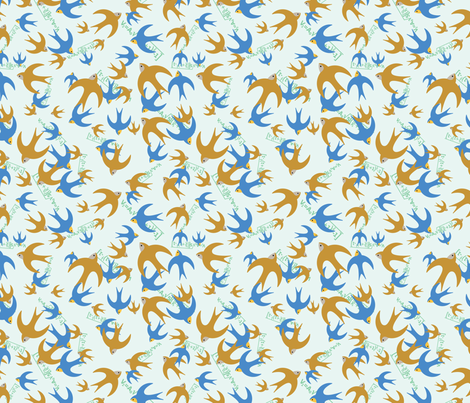 Airspeed Velocity of an Unladen Swallow fabric by studiofibonacci on Spoonflower - custom fabric