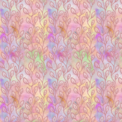 Continuous leaf pattern - rose on colorful background