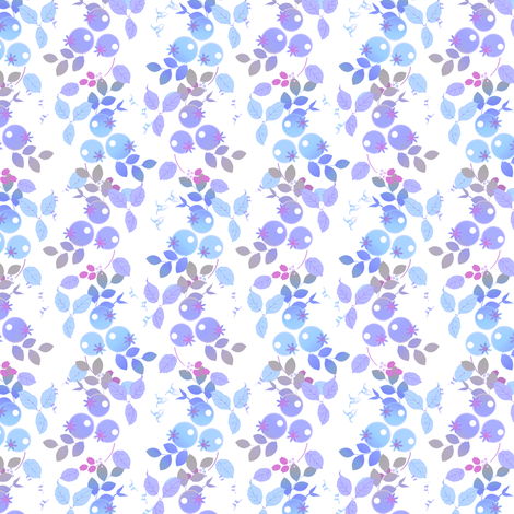 Blueberries in lavender and blue fabric by joanmclemore on Spoonflower - custom fabric