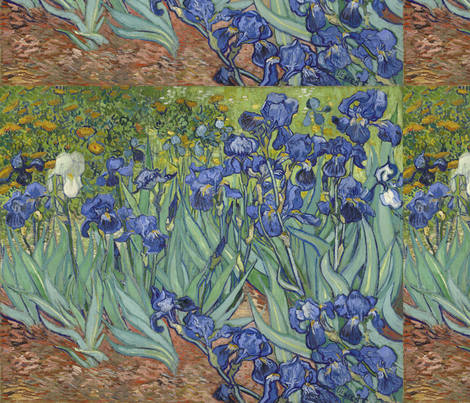 Van Gogh - Irises (1889) (half size) fabric by studiofibonacci on Spoonflower - custom fabric