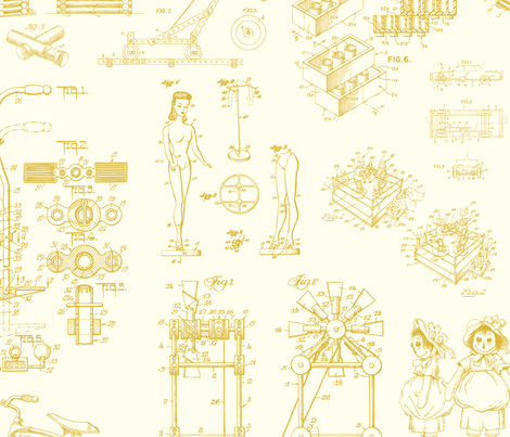 Patent Drawings - Toys (yellow) fabric by studiofibonacci on Spoonflower - custom fabric