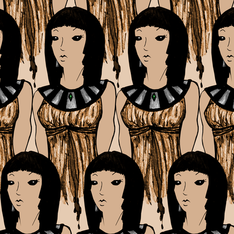 Girl in Gold fabric by pond_ripple on Spoonflower - custom fabric
