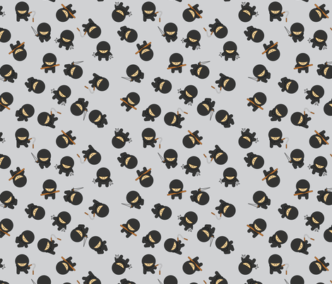 Beware! Ninjas. fabric by studiofibonacci on Spoonflower - custom fabric