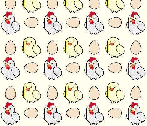 Pop Art Chickens fabric by studiofibonacci on Spoonflower - custom fabric