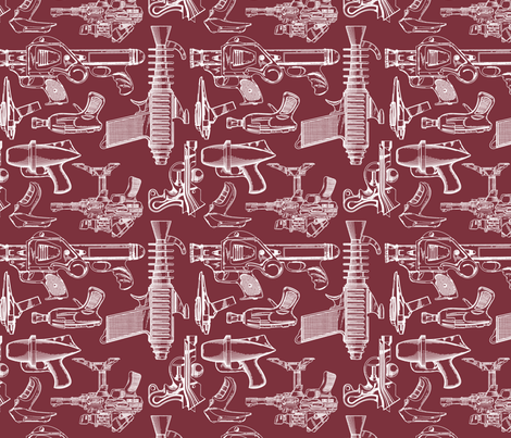Ray Gun Revival (Maroon) fabric by studiofibonacci on Spoonflower - custom fabric