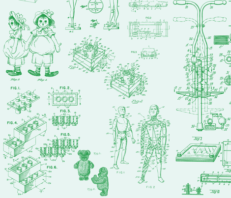 Patent Drawings - Toys (green) - paper fabric by studiofibonacci on Spoonflower - custom fabric