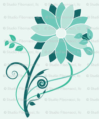 Stylized Flower  - Half Size (teal)