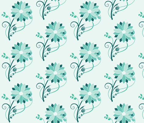 Stylized Flower  - Half Size (teal) fabric by studiofibonacci on Spoonflower - custom fabric