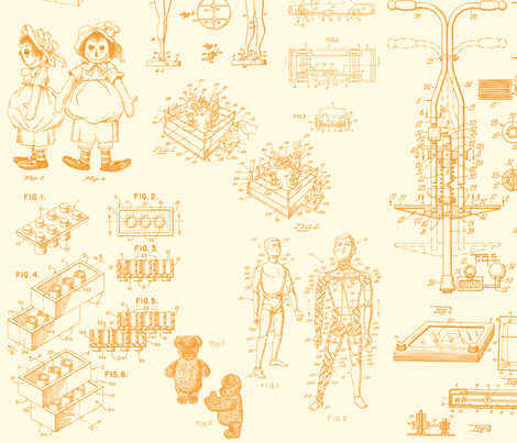 Patent Drawings - Toys (orange) - paper fabric by studiofibonacci on Spoonflower - custom fabric