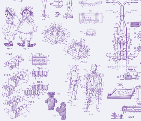 Patent Drawings - Toys (purple) - paper fabric by studiofibonacci on Spoonflower - custom fabric