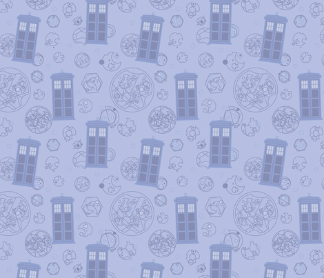 Madman in a Blue Box (light) fabric by studiofibonacci on Spoonflower - custom fabric