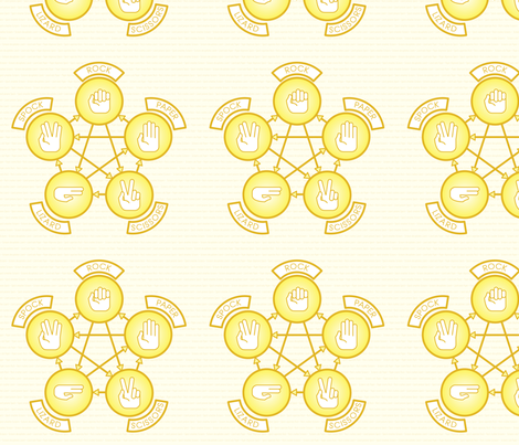 Rock, Paper, Scissor, Lizard, Spock (Yellow) fabric by studiofibonacci on Spoonflower - custom fabric
