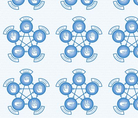 Rock, Paper, Scissor, Lizard, Spock (Blue) fabric by studiofibonacci on Spoonflower - custom fabric