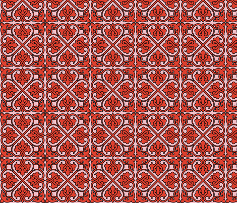 Victorian Ornament (red) fabric by studiofibonacci on Spoonflower - custom fabric