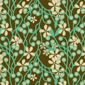 Wildwood Floral in brown and aqua