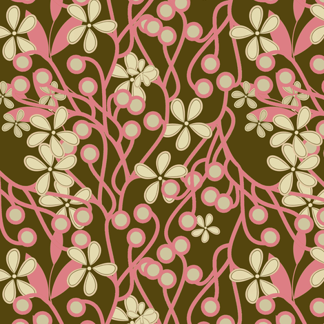 Wildwood Floral in brown and pink fabric by joanmclemore on Spoonflower - custom fabric