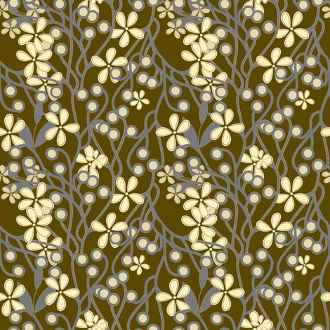 Wildwood Floral in taupe and gray fabric by joanmclemore on Spoonflower - custom fabric