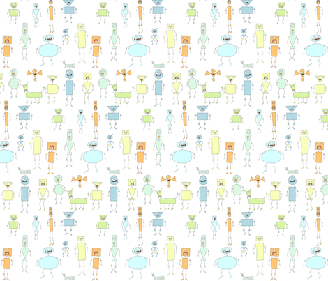 Mo-bot pastel cool fabric by raccoonhedgehog on Spoonflower - custom fabric