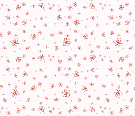 Ditsy Atom - Red fabric by studiofibonacci on Spoonflower - custom fabric