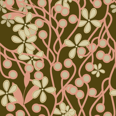Wildwood Floral in pink and brown large scale fabric by joanmclemore on Spoonflower - custom fabric