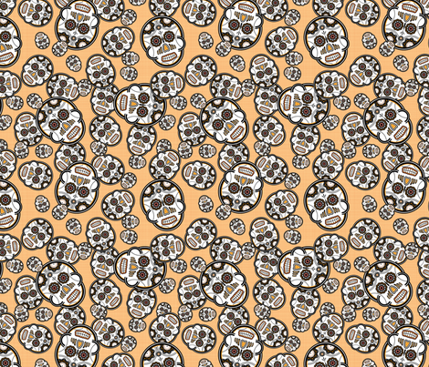 Sugar Skulls - Marigold fabric by studiofibonacci on Spoonflower - custom fabric