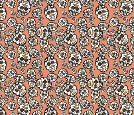 Sugar Skulls - Red fabric by studiofibonacci on Spoonflower - custom fabric