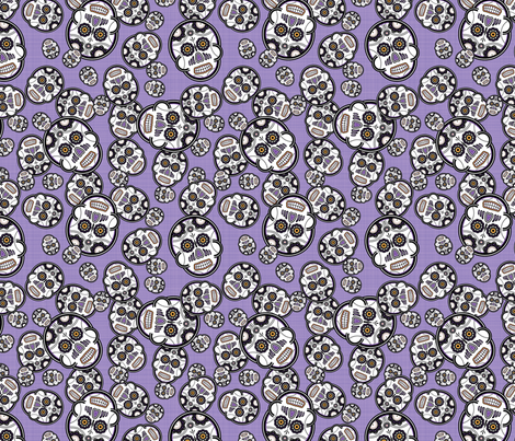 Sugar Skulls - Purple fabric by studiofibonacci on Spoonflower - custom fabric