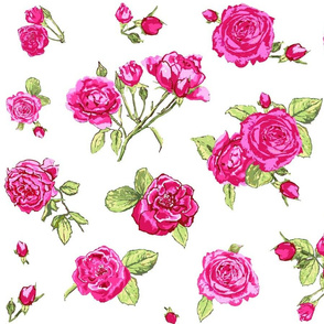 shabby chic roses larger scale