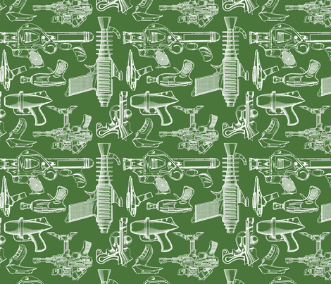 Ray Gun Revival (Olive Green) fabric by studiofibonacci on Spoonflower - custom fabric