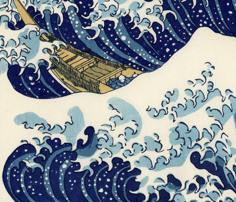 Great Wave off Kanagawa (54in) fabric by studiofibonacci on Spoonflower - custom fabric
