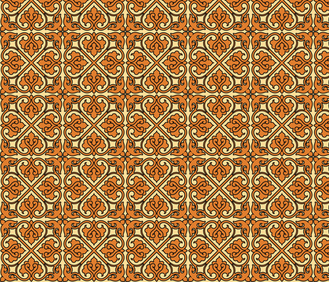 Victorian Ornament (orange) fabric by studiofibonacci on Spoonflower - custom fabric