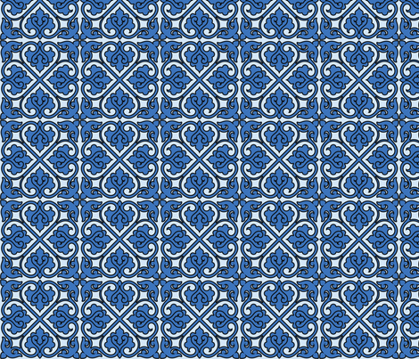 Victorian Ornament (blue) fabric by studiofibonacci on Spoonflower - custom fabric