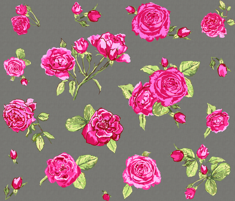 shabby chic roses grey larger scale fabric by katarina on Spoonflower - custom fabric