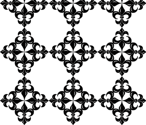 Fleur-de-Lis pattern - black and white fabric by martaharvey on Spoonflower - custom fabric