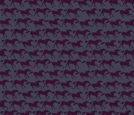 wild horses - deep purple fabric by babysisterrae on Spoonflower - custom fabric