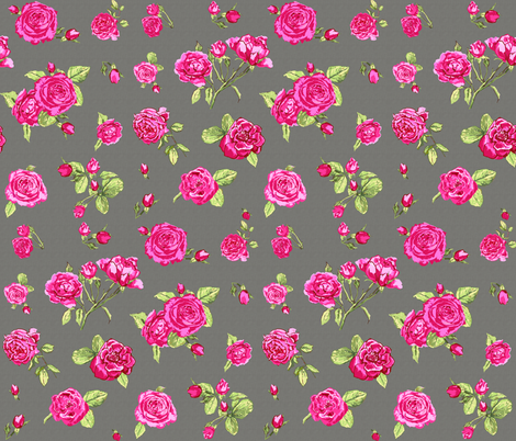 shabby chic roses grey fabric by katarina on Spoonflower - custom fabric