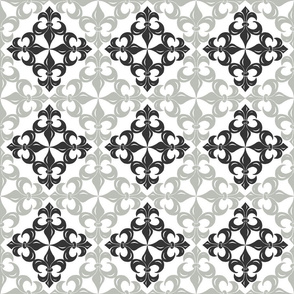 Fleur-de-Lis pattern - black and grey