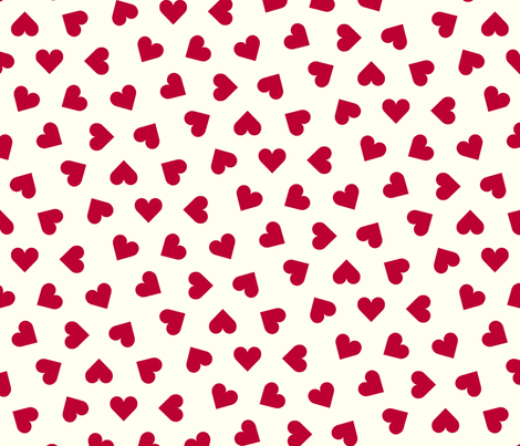 1_inch_scattered_lipstick_red_hearts_on_cream fabric by victorialasher on Spoonflower - custom fabric