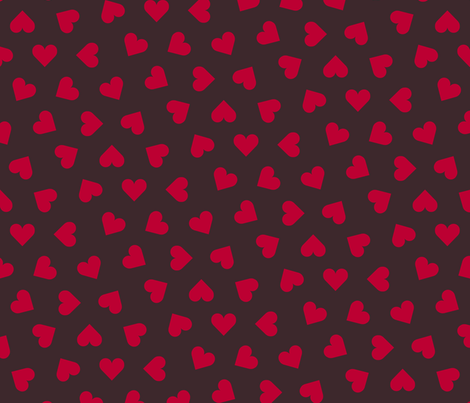 1_inch_scattered_lipstick_red_hearts_on_ink fabric by victorialasher on Spoonflower - custom fabric