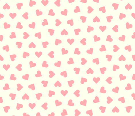 pink hearts on cream fabric by victorialasher on Spoonflower - custom fabric