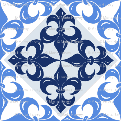 Fleur-de-Lis pattern in blues