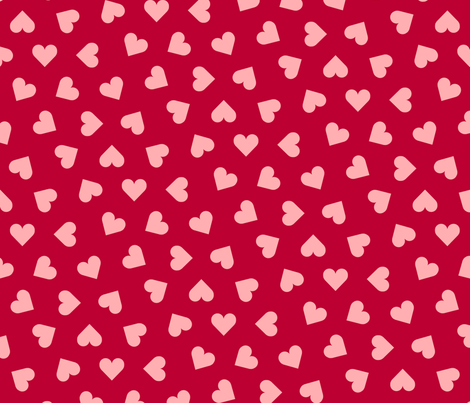 1_inch_scattered_pink_hearts_on_lipstick_red fabric by victorialasher on Spoonflower - custom fabric